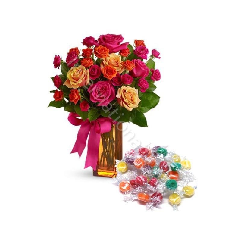 Bouquet Surprise di Roselline miste con Caramelle internationalflora.com