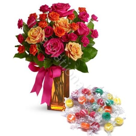 Bouquet Surprise di Roselline miste con Caramelle