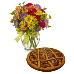 Crostata alla Nutella con Fiori misti colorati internationalflora.com