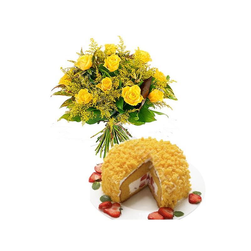 Torta Mimosa con Bouquet di Rose gialle e Mimosa
