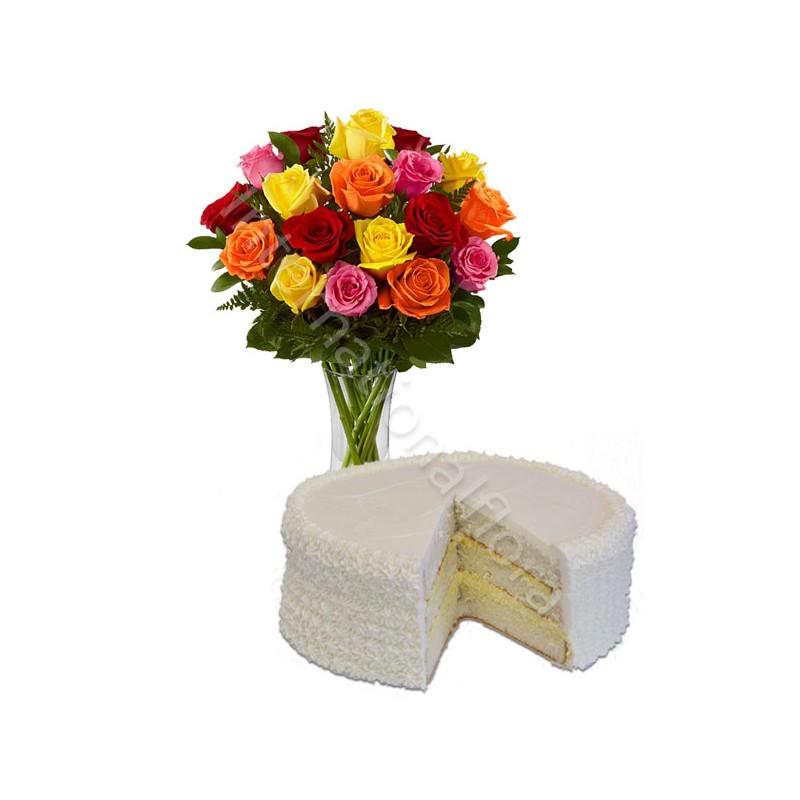 Torta alla Crema con Bouquet di Rose miste internationalflora.com