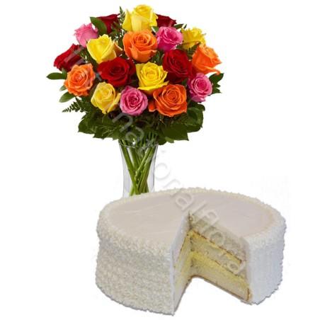 Torta alla Crema con Bouquet di Rose miste