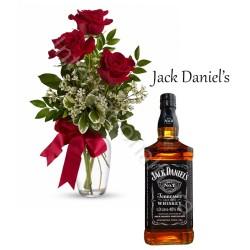 Bottiglia di Jack Daniel's con Bouquet di 3 Rose rosse