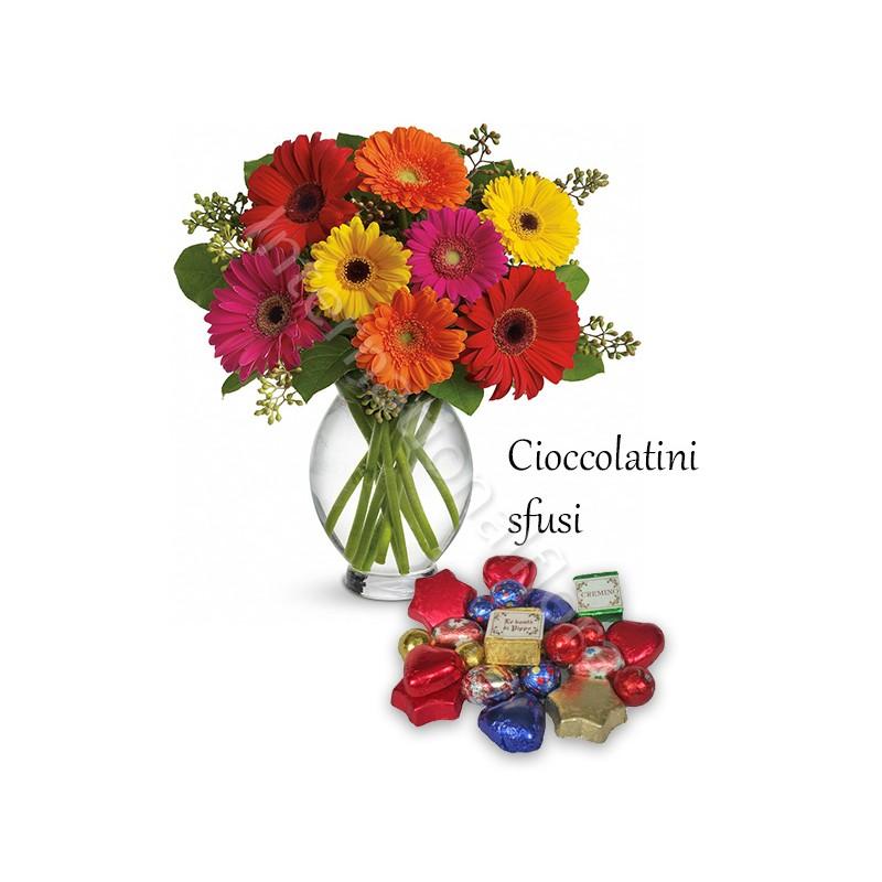Bouquet di Gerbere colorate con Cioccolatini sfusi internationalflora.com