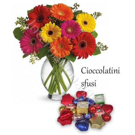 Bouquet di Gerbere colorate con Cioccolatini sfusi
