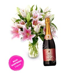 Bottiglia di Brachetto con Bouquet di Gigli