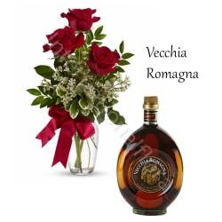 Bottiglia di Vecchia Romagna con Bouquet di 3 Rose rosse