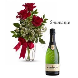 Bottiglia di Spumante con tre Rose rosse