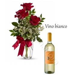 Bottiglia di Vino Bianco con Bouquet di 3 Rose rosse internationalflora.com