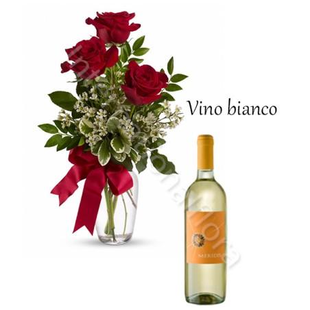 Bottiglia di Vino Bianco con Bouquet di 3 Rose rosse