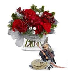 Bouquet di Rose con Befana in stoffa