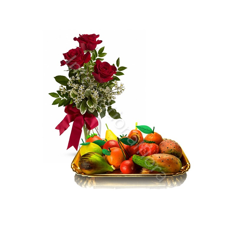 Frutta Martorana con Bouquet di Tre Rose rosse internationalflora.com