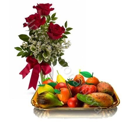 Frutta Martorana con Bouquet di Tre Rose rosse