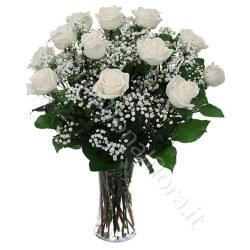 Bouquet di 12 Roselline bianche