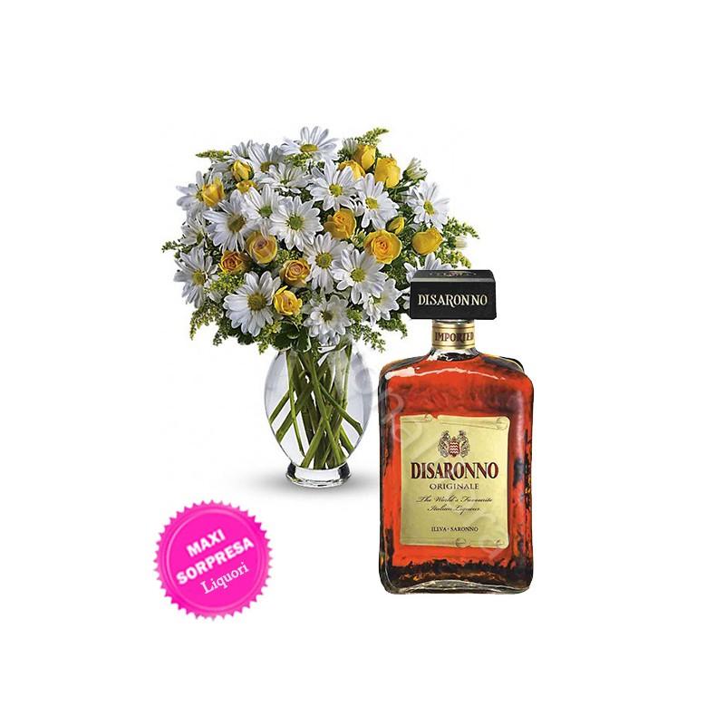 Bottiglia di Amaretto con Margherite e Roselline internationalflora.com