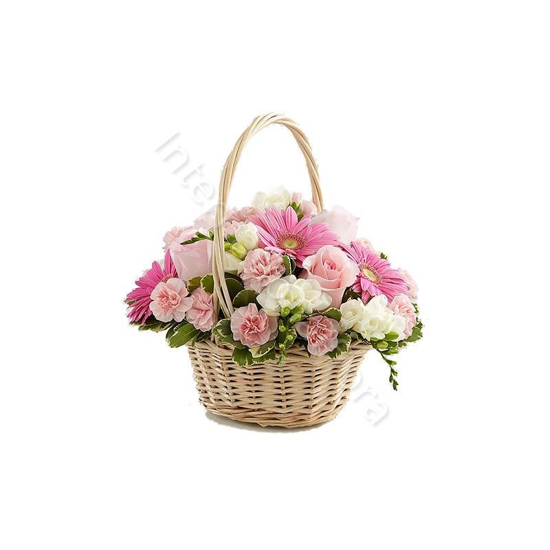 Cesto di Rose, Gerbere e Garofani internationalflora.com