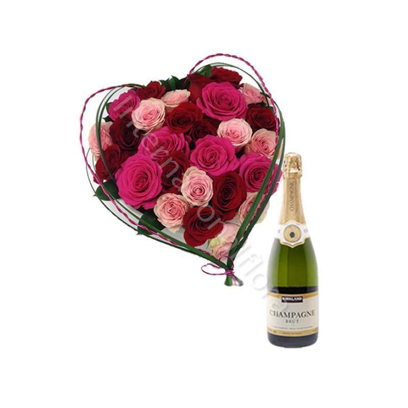 Cuore di Rose con Champagne internationalflora.com