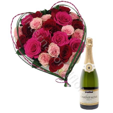 Cuore di Rose con Champagne