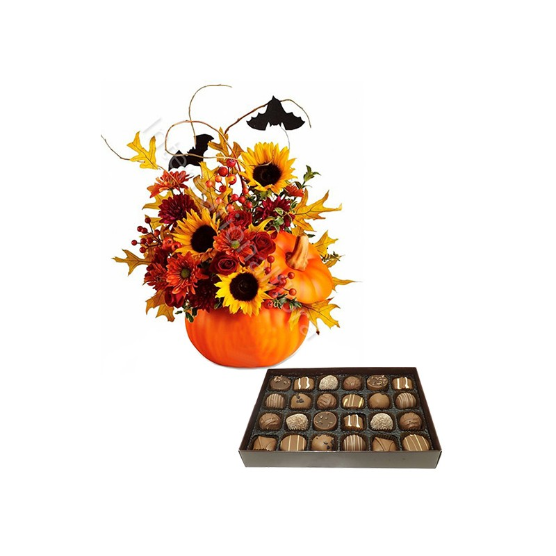 Bouquet Halloween con Scatola di Cioccolatini internationalflora.com