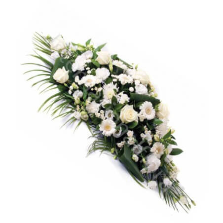 Palma funebre di Rose e Gerbere bianche