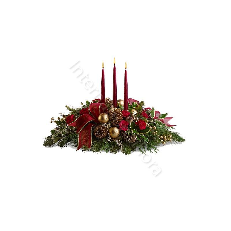 Centrotavola Natalizio con Rose rosse