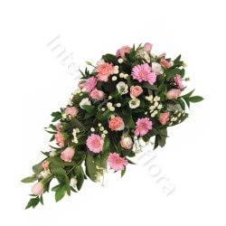 Composizione funebre di Rose rosa e Gerbere