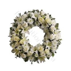 Corona funebre di Rose, Gigli e Garofani internationalflora.com