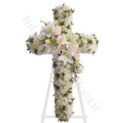 Croce funebre con Lilium e Rose dai colori chiari