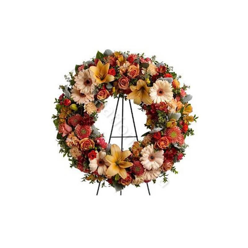 Corona funebre di Anthurium e Rose rosse internationalflora.com