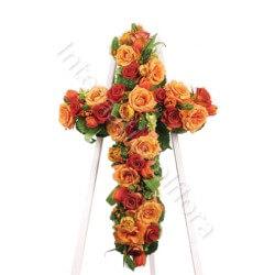Croce funebre di Rose rosse e arancio internationalflora.com