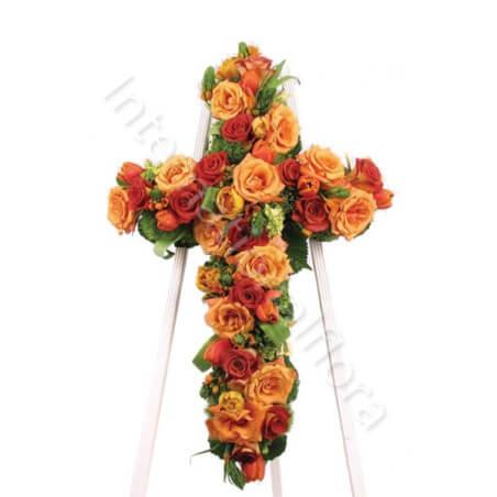 Croce funebre di Rose rosse e arancio