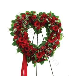 Corona funebre di Rose e Gerbere rosse internationalflora.com