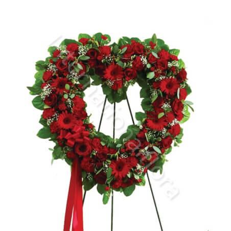 Corona funebre di Rose e Gerbere rosse