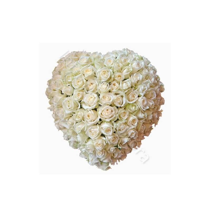 Cuore di 100 Rose bianche